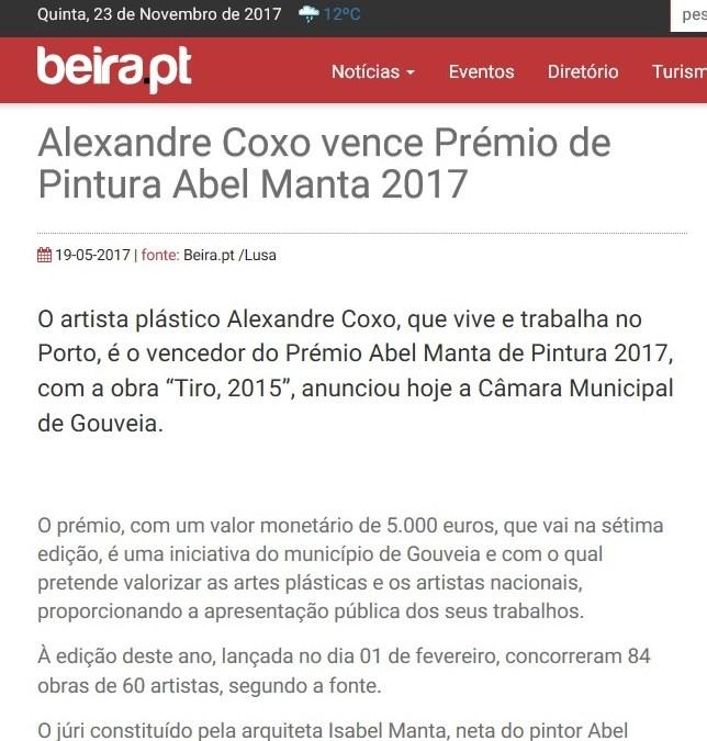 Alexandre Coxo vence Prémio de Pintura Abel Manta 2017