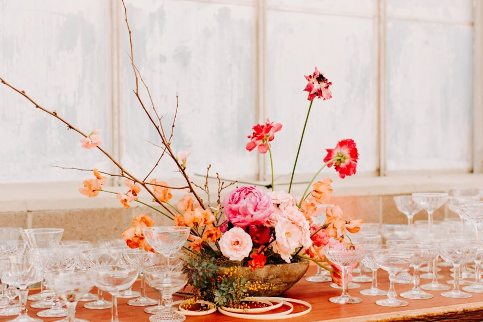 shades of pink floral centerpiece