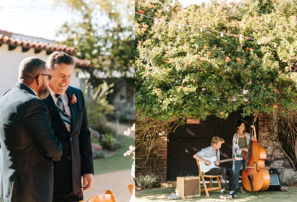 Casino San Clemente wedding ceremony with bright pink florals and bohemian design