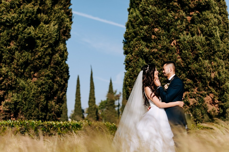 bride and groom photos in a field