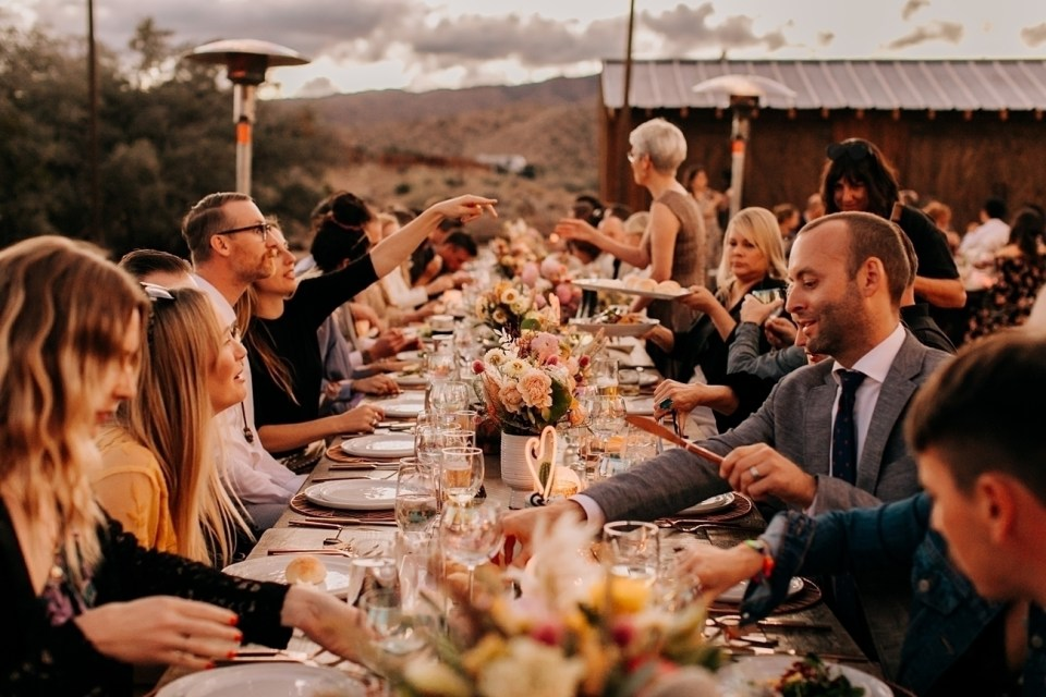 family style catering at wedding in Joshua Tree