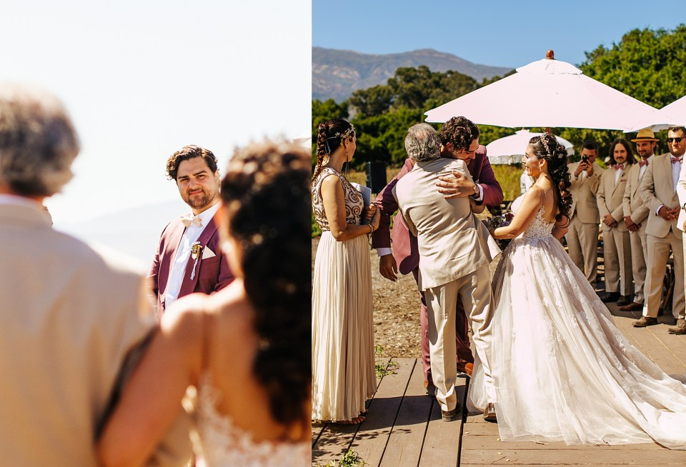 Ceremony for Goleta Wedding at Dos Pueblos Orchid Farm