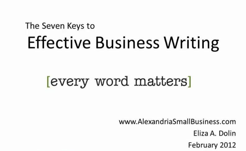 Effective Business Writing: The Seven Keys for Small Business Owners