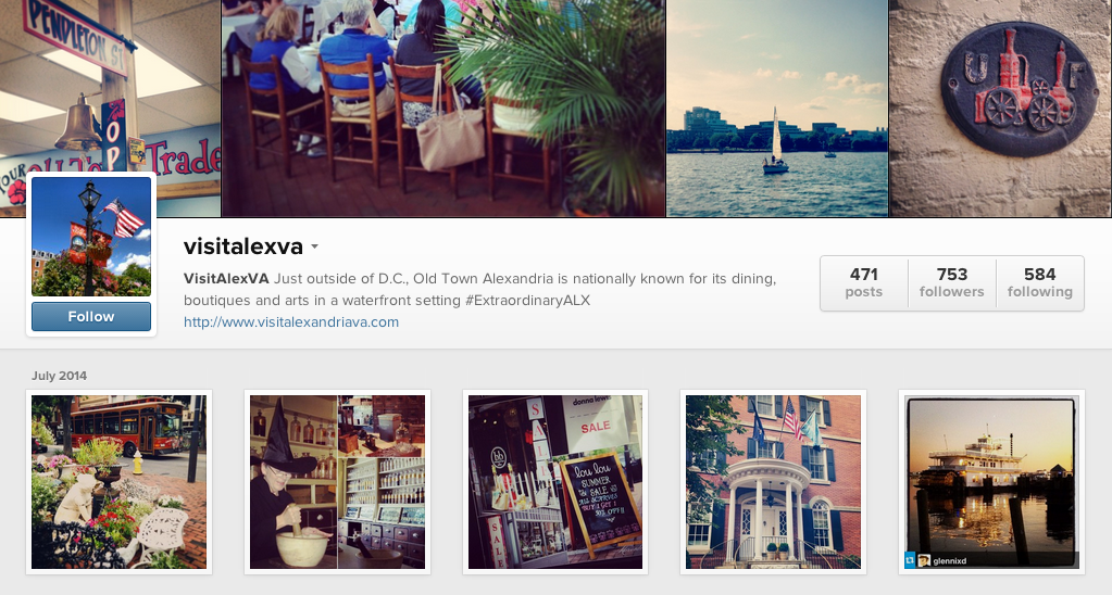 Screenshot of the photo-filled @VisitAlexVA Instagram account.