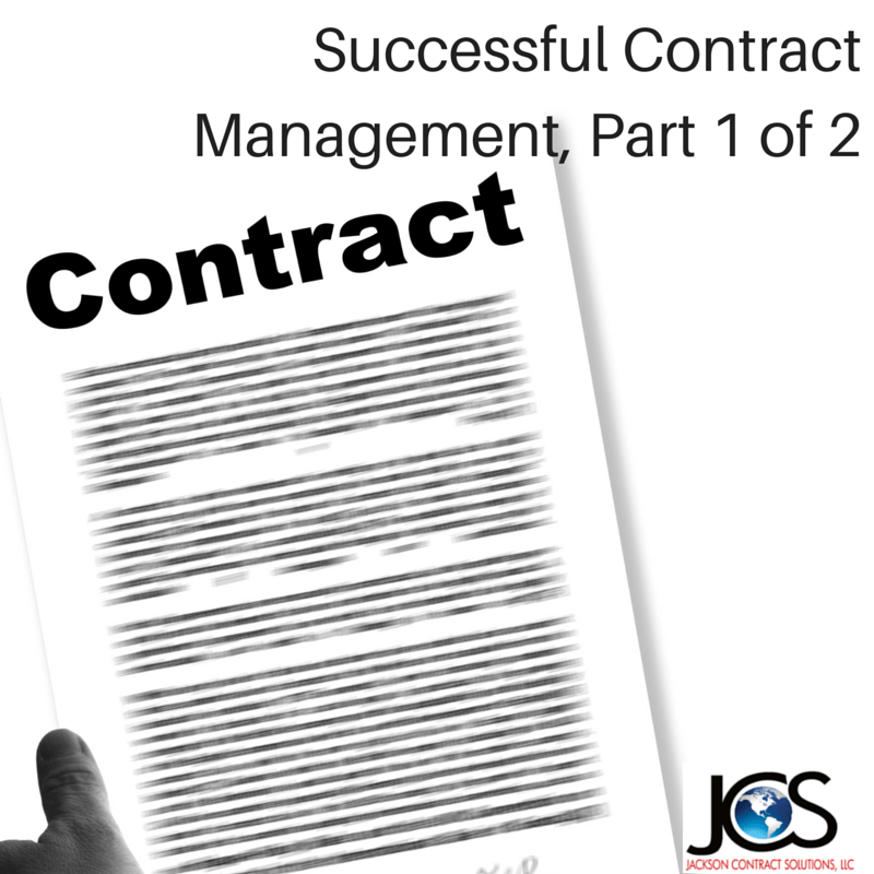 Successful Contract Management – Part 1 of 2