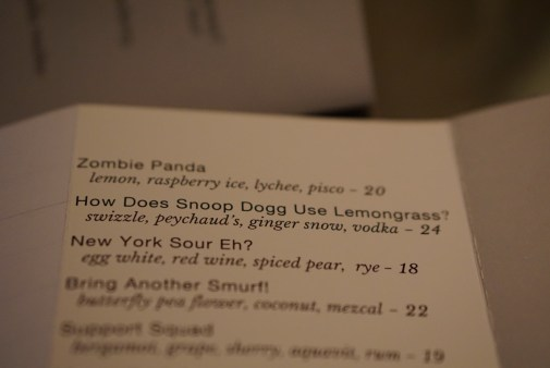 Don't let the silly cocktail names fool you. These are serious drinks.