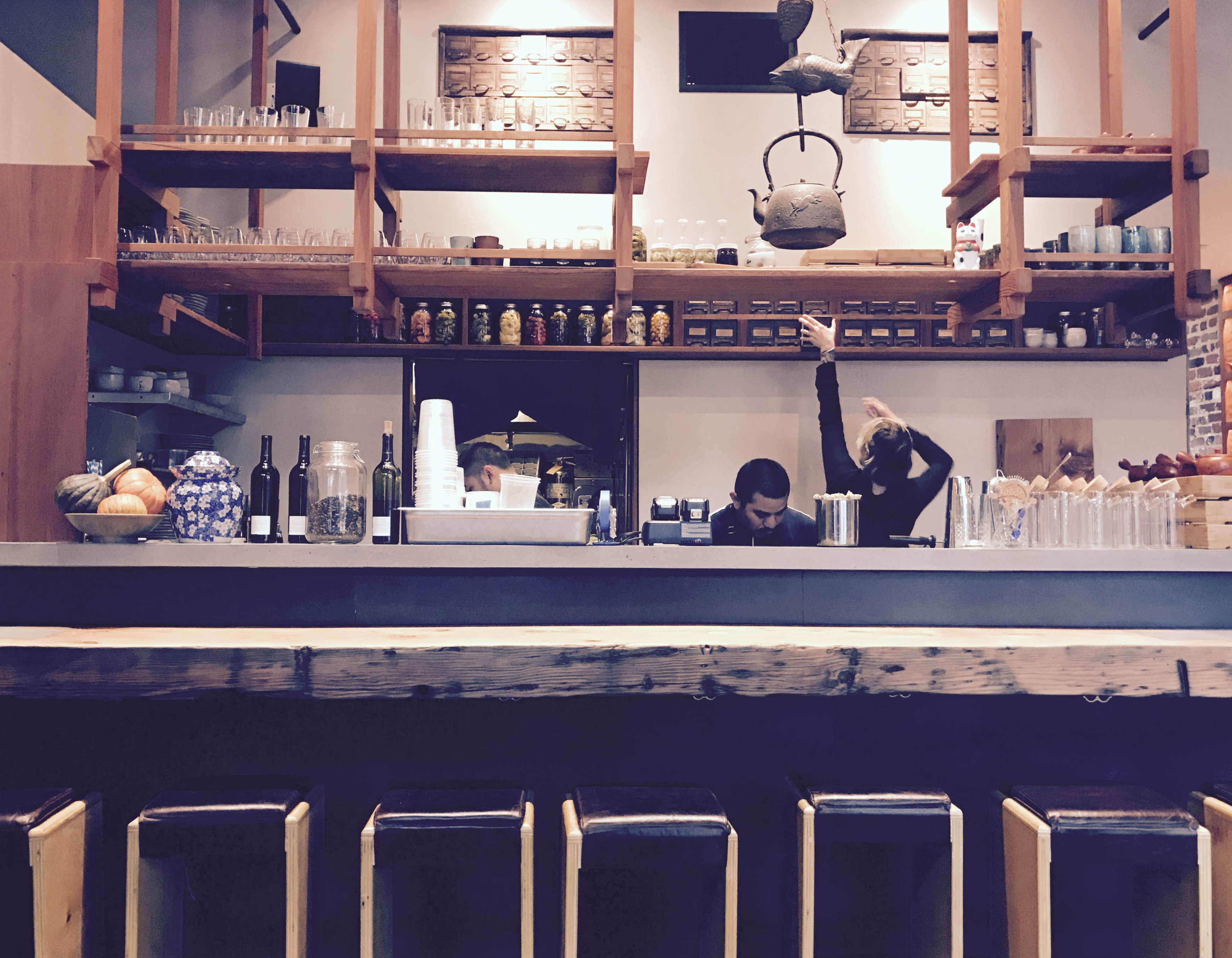 I could sit at this bar all day sipping tea and watching the kitchen prep for meal service.