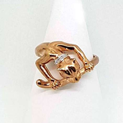 gold jaguar ring 9ct rose gold with pink sapphires and diamonds