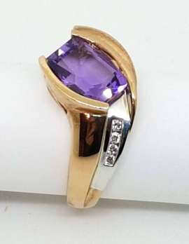 amethyst 9ct gold ring with diamonds