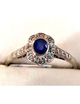antique white gold ring with blue sapphire
