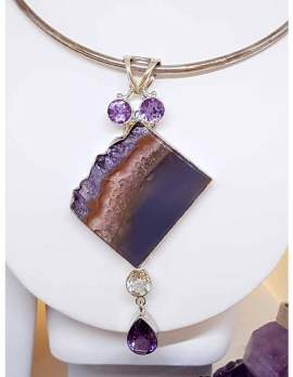 Sterling Silver Large Amethyst Crystal Slice Pendant Sterling Silver Choker