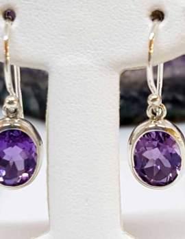 Amethyst Sterling Silver Drop Earrings