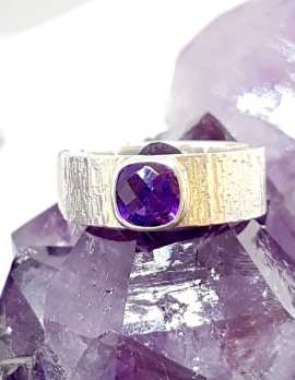 Single Square Amethyst Sterling Silver ring