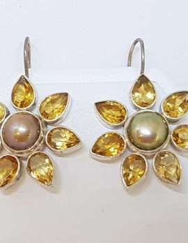 Sterling Silver Citrine and Pearl Flower Earrings