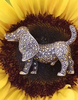 Sterling Silver and marcasite brooch - Dog