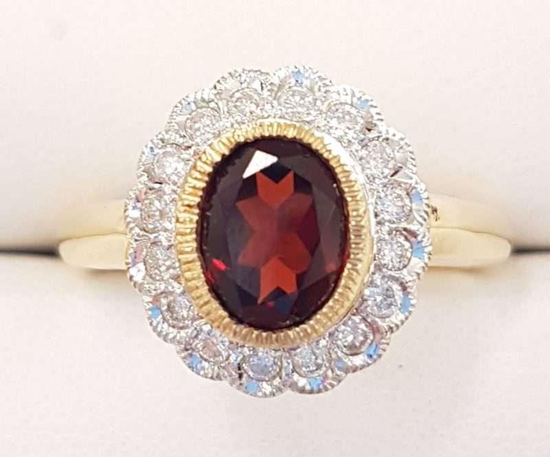 Oval Garnet and Diamond ring