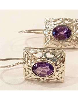 Sterling silver and oval amethyst earrings