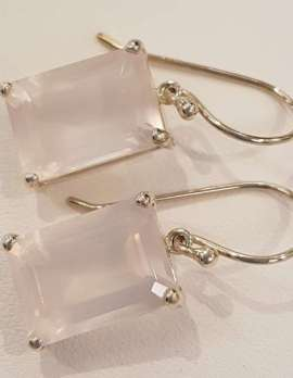 rose-quartz and gold earrings