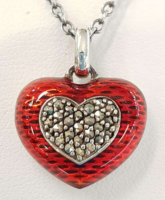 Love Heart Necklace - Marcasite and enamel with silver chain