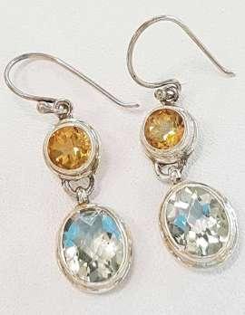 Sterling Silver Green Amethyst & Citrine Earrings