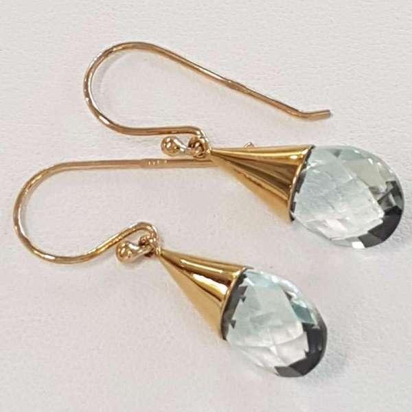 85d1bc4ad6d76 9ct Gold Green Amethyst / Prasiolite Drop Earrings