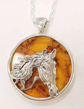 Sterling Silver Baltic Amber Round Horse Pendant on Chain