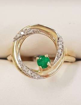 "9ct Yellow Gold Natural Emerald and Diamond Round "" Circle of Life "" Ring"