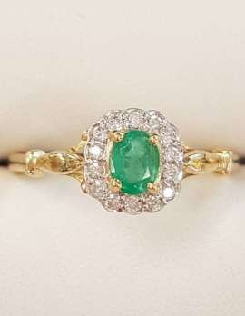 9ct Yellow Gold Natural Emerald and Diamond Oval Cluster Ring