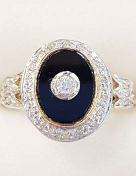 9ct Gold Onyx and Diamond Oval Ring