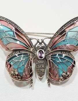 Marcasite Enamel Butterfly Brooch