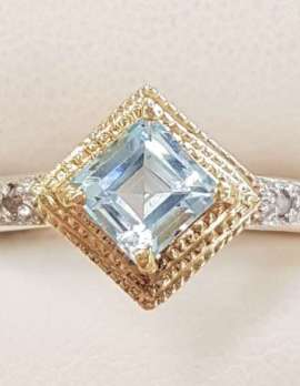 9ct Gold Topaz and Diamond Square Ring