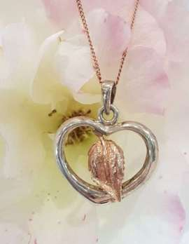 Sterling Silver and 9ct Rose Gold Leaf in Heart Pendant on Chain