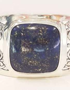 Sterling Silver Filigree Lapis Lazuli Bangle - Ornate