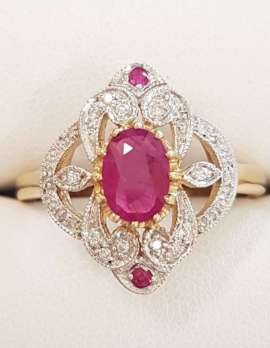 9ct Gold Natural Ruby and Diamond Ornate Ring