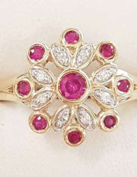 9ct Yellow Gold Natural Ruby and Diamond Cluster Ring