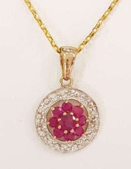9ct Yellow Gold Natural Ruby and Diamond Floral Pendant on 9ct Chain