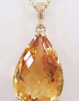 9ct Gold Large Teardrop Citrine Pendant on 9ct Chain
