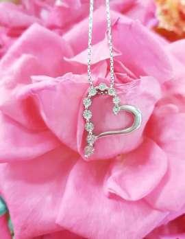 9ct White Gold Heart Diamond Pendant on 9ct Chain