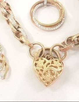 9ct Gold 3 Tone Gold Bracelet , Drop Earrings, Bracelet, Ring and Necklace