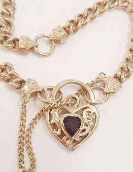 9ct Gold Bracelet with Garnet Heart Padlock Clasp