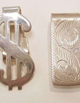 Sterling Silver Money Clips - Dollar Sign and Ornate. Sold Individually