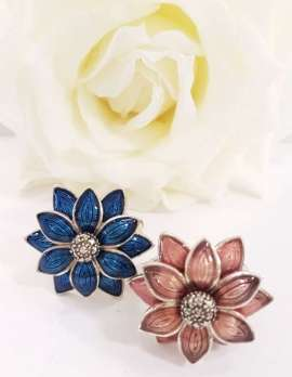 Sterling Silver, Marcasite and Enamel Flower Ring - Sold Individually