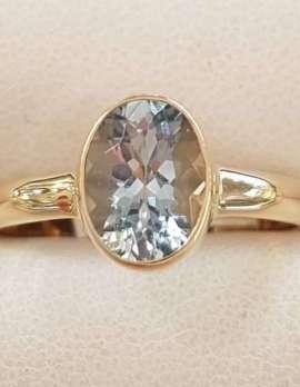 9ct Gold Aquamarine Bezel Set Ring - Oval