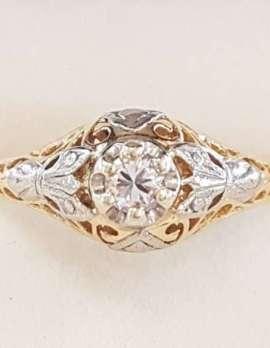 18ct Yellow Gold & Platinum Filigree Diamond Engagement Ring