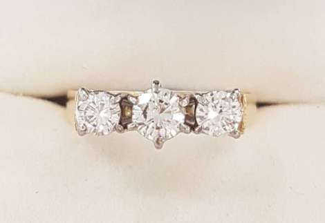 18ct Yellow Gold Three Diamond Trilogy Ring