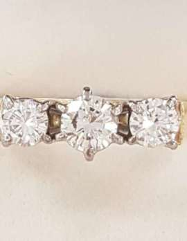 18ct Yellow Gold Three Diamond Trilogy Ring