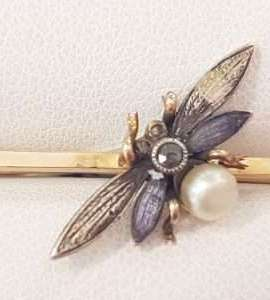 9ct Yellow Gold Enamel, Diamond and Pearl Butterfly Bar Brooch