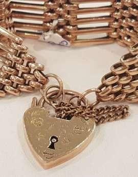 9ct Rose Gold Gatelink Wide Bracelet