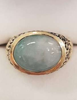 14ct Yellow Gold Oval Jade Ring