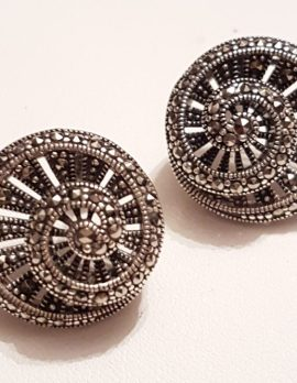 Sterling Silver Marcasite Large Round Filigree Stud Earrings